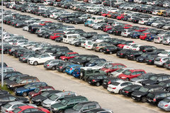 Cars parked in a large parking lot Royalty Free Stock Photo