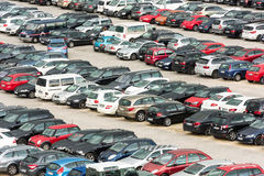 Cars parked in a large parking lot Stock Photos