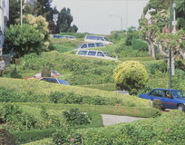 Cars parked on Lombard Street in San Francisco, CA Stock Photo