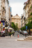 Cars parked at narrow street of Budapest Stock Images