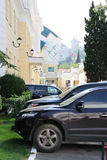 Cars parked near  house. On street in Yalta Stock Image