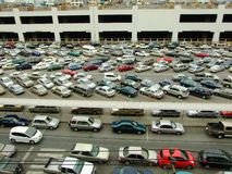 Cars parked at a park and side lot at a BTS station in Chatuchak district Stock Photos