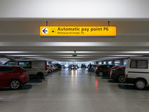 Cars parked in parking garage at international airport Royalty Free Stock Images