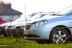 Cars parked on a parking lot in city Royalty Free Stock Photos