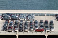 Cars parked at port Stock Photo