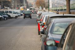 Cars Parked in a row Royalty Free Stock Photography