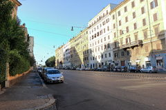 Cars parked in a row on the street of Rome Royalty Free Stock Photo
