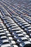Cars parked in rows elevated view full frame Royalty Free Stock Photo