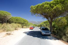 Cars parked on sandy road in Tarifa southern Spain Royalty Free Stock Photos
