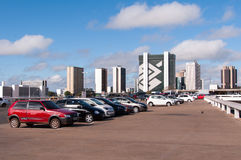 Cars parked in the street in Brasilia Stock Image