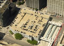 Cars on the parking in Chicago. top view royalty free stock photos