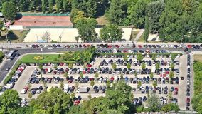 Cars Parking In Full Car Parking Lot Of Vienna City. VIENNA, AUSTRIA - AUGUST 25, 2015: Cars Parking In Full Car Parking Lot Of Vienna City stock video footage