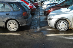 Parking lot in winter season Stock Photo
