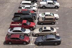 Cars in a parking lot. Aerial view of a parking lot in the city Stock Photo