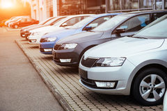 Cars in parking lot Royalty Free Stock Photography