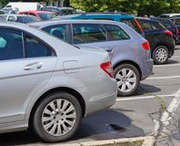 Cars in the parking lot royalty free stock photography
