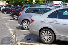 Cars in the parking lot stock photography