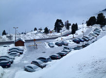 Snow and cars Royalty Free Stock Photo