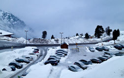 Cars under the snow Royalty Free Stock Images