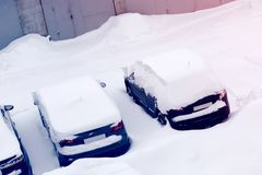 Cars in the Parking lot in the snow Royalty Free Stock Images
