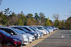 Cars at the parking lot in Tokyo, Japan Royalty Free Stock Photo