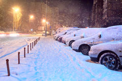 Cars in the parking lot in the winter Stock Photography