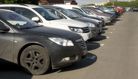 Cars on parking, Moscow Stock Images