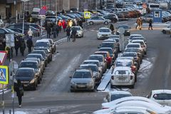 Cars on a parking in Moscow stock photography