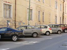 Cars in the parking. Parked cars in Brasov,Romania Stock Photography