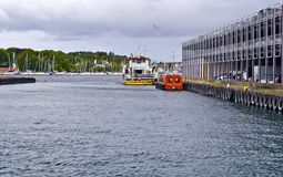 Cars parking in port of Stavanger, Norway Royalty Free Stock Photo