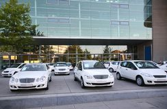 Cars on parking of shop royalty free stock image