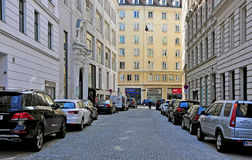 Cars parking in the street in downtown of Vienna Royalty Free Stock Photos