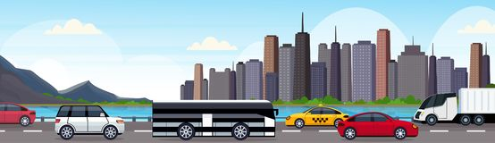 Cars and passenger bus driving asphalt highway road over beautiful river mountain city panorama skyscrapers cityscape stock illustration