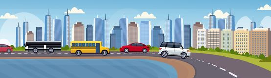 Cars and passenger buses driving asphalt highway road over beautiful river city panorama skyscrapers cityscape royalty free illustration