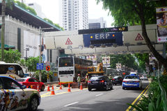 Cars passes through ERP system at Orchard in Singapore Stock Image