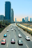 Cars passing on Ayalon freeway in Tel Aviv, Israel. Stock Images