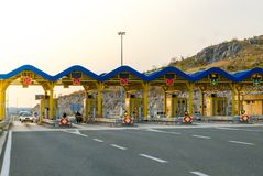 Cars passing through the toll gate on the motorway. Sunset travel background, Croatia stock images