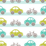 Cars pattern. Vector seamless tile pattern with cars and bicycles on a road vector illustration