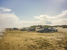 Cars and People at the Beach in Carilo Royalty Free Stock Photos