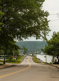 Cars, People and a Boat in Nova Scotia Stock Images