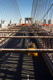 Cars and people on the Brooklyn Bridge Royalty Free Stock Photography