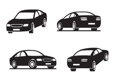 Cars in perspective. Vector illustration Royalty Free Stock Photo