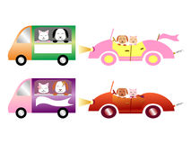 Cars with pets. Colorful cars with pets: dog and cat royalty free illustration