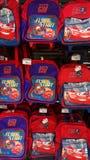 Cars Pixar movie children`s bags. Stock Photos