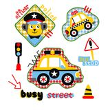 Cars & police cartoon. Vector for wallpaper wall picture Stock Image