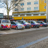 Cars of police near area New Market. AMSTERDAM, NETHERLANDS - JANUARY 17, 2017: Cars of police near area New Market. January 17, 2017 in Amsterdam - Netherlands stock image