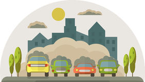 Cars pollute the environment. Smoke from cars covers the house a. Nd the sky. Vector flat  illustration Stock Photos