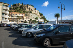 Cars in the port of Cassis Stock Photography