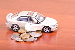 Cars poured out the coins Stock Photo
