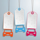 3 Cars Price Stickers Royalty Free Stock Images